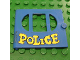 Part No: fabak3pb05  Name: Fabuland Door with Oval pane in 3 sections with 'POLICE' Pattern (Sticker)