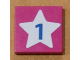 Part No: 3068bpb0186  Name: Tile 2 x 2 with Groove with Light Blue Star and Blue Number 1 Pattern (Sticker) - Set 5944
