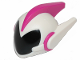 Part No: 34704pb01  Name: Mini Doll, Headgear Helmet Alien with Two Side Spikes and Top Ridge, White with Black Visor Pattern