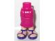 Part No: 92249c00pb03  Name: Mini Doll Friends Hips and Long Skirt, Light Flesh Legs and Dark Purple Sandals Pattern