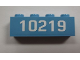 Part No: 3010pb134  Name: Brick 1 x 4 with White '10219'  Pattern (Sticker) - Set 10219