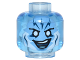Part No: 3626cpb1110  Name: Minifig, Head Alien with Medium Blue Face with White Eyes and Lightning Bolts on Forehead Pattern (Electro) - Stud Recessed