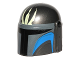 Part No: 87610pb03  Name: Minifigure, Headgear Helmet with Holes, SW Mandalorian with Light Lime Trident Pattern