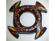 Part No: 98341pb06  Name: Ring 4 x 4 with 2 x 2 Hole and 4 Arrow Ends with Yellow and Red Flames Pattern (Ninjago Spinner Crown)