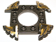Part No: 98343pb02  Name: Ring 4 x 4 with 2 x 2 Hole and 4 Serrated Ends with Black and Pearl Gold Pattern (Ninjago Spinner Crown)