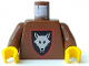 Part No: 973p44c01  Name: Torso Castle Wolfpack Pattern / Brown Arms / Yellow Hands