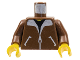 Part No: 973p70c01  Name: Torso Bomber Jacket and Black T-Shirt Pattern / Brown Arms / Yellow Hands