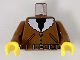 Part No: 973pa5c01  Name: Torso Bomber Jacket, Belt, & Black Shirt Pattern / Brown Arms / Yellow Hands