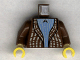 Part No: 973pb0011c01  Name: Torso Harry Potter Cardigan Sweater over Blue Striped Shirt Pattern / Brown Arms / Yellow Hands
