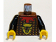 Part No: 973px137c01  Name: Torso Castle Knights Kingdom Bull's Head, Studded Armor, Red Collar Pattern / Black Arms / Yellow Hands