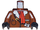 Part No: 973px179c01  Name: Torso Adventurers Orient Leather Jacket and Red Scarf Pattern / Brown Arms / Black Hands
