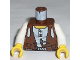 Part No: 973px190c01  Name: Torso Adventurers Desert Vest over White Shirt, Slingshot Pattern / White Arms / Yellow Hands