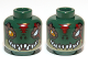 Part No: 3626cpb0888  Name: Minifig, Head Dual Sided Alien Chima Crocodile with Dark Brown Rimmed Eyes and Red Scar, Wide Eye / Narrow Eye Pattern (Cragger) - Stud Recessed
