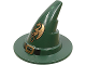 Part No: 6131pb03  Name: Minifigure, Headgear Hat, Wizard / Witch with Black Buckle and Gold Dragon Pattern