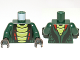 Part No: 973pb1191c01  Name: Torso Ninjago Snake with Lime and Red Scales Pattern (Acidicus) / Dark Green Arms / Black Hands