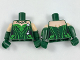 Part No: 973pb2761c01  Name: Torso Batman Poison Ivy Plant Foliage White Flowers Pattern / Dark Green Arms with Light Flesh Short Sleeves and Flowers on Left Arm Pattern / Dark Green Hands