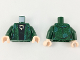 Part No: 973pb3197c01  Name: Torso Female Robe with Green and Bright Light Blue Design, Black Shirt with Silver and Gold Broach Pattern / Dark Green Arms / Light Flesh Hands