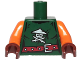 Part No: 973pb3229c01  Name: Torso Ninjago Female Skull with Crossed Swords and Scabbards, Red Belt Pattern / Orange Arms / Reddish Brown Hands