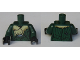 Part No: 973pb3357c01  Name: Torso Harry Potter Pinstripe Jacket with Cat Holding Mouse Shawl and Spider on Back Pattern / Dark Green Arms / Black Hands