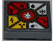 Part No: 11203pb009  Name: Tile, Modified 2 x 2 Inverted with White Lion Head and 8 Danger Symbols Pattern (Sticker) - Set 70500