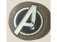 Part No: 14769pb259  Name: Tile, Round 2 x 2 with Bottom Stud Holder with Silver Avengers Logo Pattern