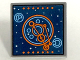 Part No: 15210pb008  Name: Road Sign Clip-on 2 x 2 Square Open O Clip with Blue and Orange Space Screen Pattern