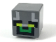 Part No: 19729pb025  Name: Minifigure, Head Modified Cube with Minecraft Pixelated Green Face with Yellow Eyes Pattern