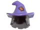 Part No: 20606pb01  Name: Minifig, Hair Combo, Hair with Hat, Mid-Length Scraggly with Dark Purple Floppy Witch Hat with Orange Patch Pattern
