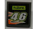 Part No: 30258pb023  Name: Road Sign Clip-on 2 x 2 Square with 'FUZONE', Number '46' and Orange Flames Pattern (Sticker) - Set 8125