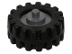 Part No: 3464c04  Name: Wheel Center Small with Stub Axles (Pulley Wheel), with Black Tire 15mm D. x 6mm Offset Tread Small - Band Around Center of Tread (3464/87414)