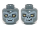 Part No: 3626cpb0971  Name: Minifig, Head Dual Sided Alien Chima Gorilla with Yellow Eyes and Gray Face, Closed Mouth / Crooked Smile Pattern (Grumlo) - Stud Recessed