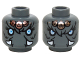 Part No: 3626cpb1156  Name: Minifig, Head Dual Sided Alien Chima Mammoth Bright Light Blue Eyes, Copper Pendants, White Tusks, Neutral / Angry Pattern (Maula) - Stud Recessed