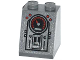 Part No: 3678bpb069  Name: Slope 65 2 x 2 x 2 with Bottom Tube with 4 Red Buttons, Gauge,  2 Screws and Panels Pattern (Sticker) - Set 79104