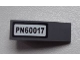 Part No: 50950pb060  Name: Slope, Curved 3 x 1 No Studs with 'PN60017' on White Background Pattern (Sticker) - Set 60017