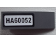 Part No: 50950pb074  Name: Slope, Curved 3 x 1 No Studs with 'HA60052' on White Background Pattern (Sticker) - Set 60052