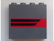 Part No: 60581pb019L  Name: Panel 1 x 4 x 3 with Side Supports - Hollow Studs with Two Black Horizontal Stripes on Red Background Pattern Model Left Side (Sticker) - Set 60008