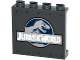 Part No: 60581pb051  Name: Panel 1 x 4 x 3 with Side Supports - Hollow Studs with 'JURASSIC WORLD' and Dino Pattern (Sticker) - Set 75919