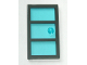 Part No: 60797c01  Name: Door 1 x 4 x 6 with 3 Panes and Stud Handle with Trans-Light Blue Glass