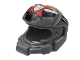 Part No: 87781pb01  Name: Minifigure, Headgear Helmet Space with World Racers Team Extreme Logo Pattern