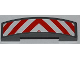 Part No: 93273pb016  Name: Slope, Curved 4 x 1 Double No Studs with Red and White Danger Stripes Pattern (Sticker) - Set 60018
