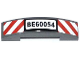 Part No: 93273pb027  Name: Slope, Curved 4 x 1 Double No Studs with Red and White Danger Stripes and 'BE60054' Pattern (Sticker) - Set 60054