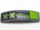 Part No: 93273pb084  Name: Slope, Curved 4 x 1 Double No Studs with Lime, Silver and Black Circuitry and Microchips Pattern (Sticker) - Set 70165
