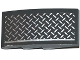 Part No: 93606pb042L  Name: Slope, Curved 4 x 2 No Studs with Tread Plate and Silver Line Pattern Model Left Side (Sticker) - Set 75919