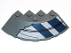 Part No: 95188pb14L  Name: Brick, Round Corner 6 x 6 with Slope 33 Edge, Facet Cutout with Dark Blue Stripes and Black Lines Pattern Model Left (Sticker) - Set 75013