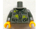 Part No: 973pb1405c01  Name: Torso Silver Zipper and Lime Paint Splotches Pattern / Dark Bluish Gray Arms / Yellow Hands