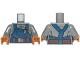 Part No: 973pb2245c01  Name: Torso Overalls Dark Blue Rumpled with Reddish Brown Belt Pattern (SW Ugnaught) / Dark Bluish Gray Arms / Medium Dark Flesh Hands