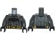 Part No: 973pb2328c01  Name: Torso Batman Large Bat Logo, Body Armor and Black and Gold Belt Pattern / Dark Bluish Gray Arms / Black Hands