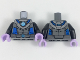Part No: 973pb2710c01  Name: Torso Armor with Medium Azure Round Crystal with Blue Tubes Pattern (Mr. Freeze) / Black Arms / Lavender Hands