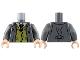 Part No: 973pb3220c01  Name: Torso Suit Jacket over Olive Green Vest, White Shirt and Tie Pattern / Dark Bluish Gray Arms / Light Flesh Hands