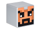 Part No: 19729pb016  Name: Minifigure, Head Modified Cube with Minecraft Pixelated Helmet with Face with Beard Pattern